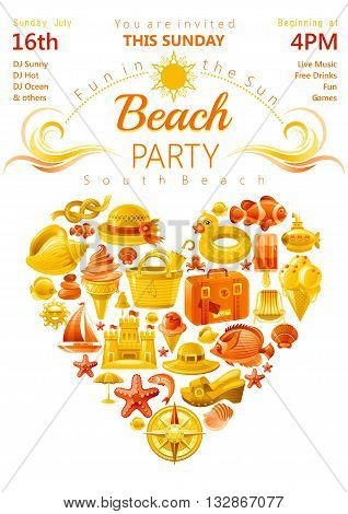 Beach party invitation in yellow and orange color