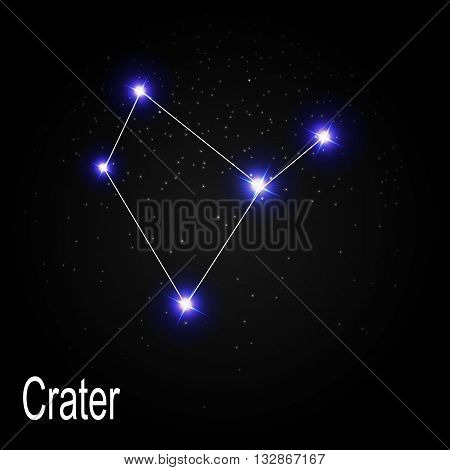 Crater Constellation with Beautiful Bright Stars on the Background of Cosmic Sky Vector Illustration EPS10
