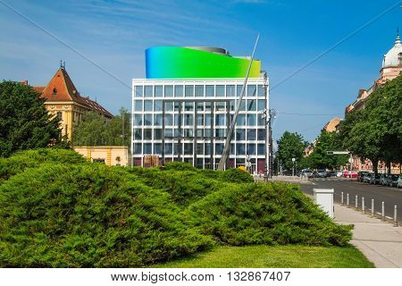 Zagreb, Croatia, May 26th, 2016, New modern building of Croatian Music Academy in Zagreb, Croatia