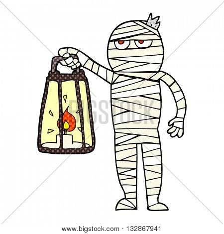 freehand drawn cartoon mummy
