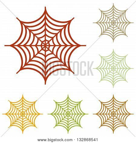 Spider on web illustration. Colorful autumn set of icons.