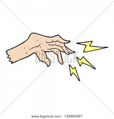 freehand drawn cartoon hand casting spell