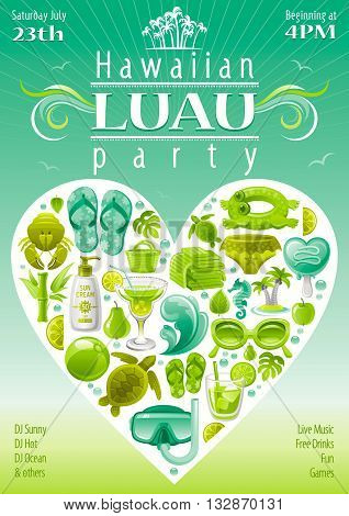 Beach party invitation in green, lima and mint colors
