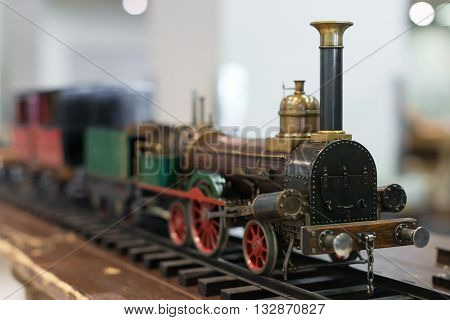 Miniature Model Of Vintage Train With Wagons.