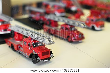 Miniature Fire Engine Car Models In The Shop.