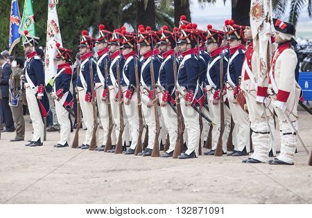Badajoz Spain - May 25 2016: spanish troops during the Armed forces day. 6th Infantry Regiment Saboya period dressed