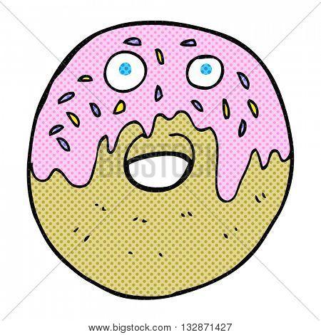freehand drawn cartoon doughnut