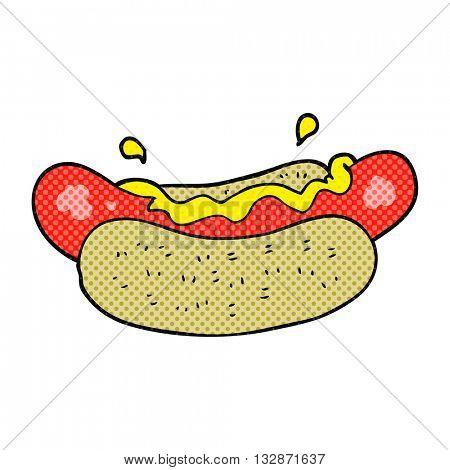 freehand drawn cartoon hotdog