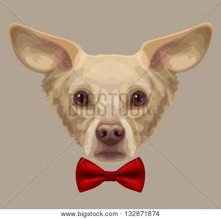 Drawn funny lop-eared beige-colored dog muzzle with brown eyes and brown nose with stylish red bow-tie