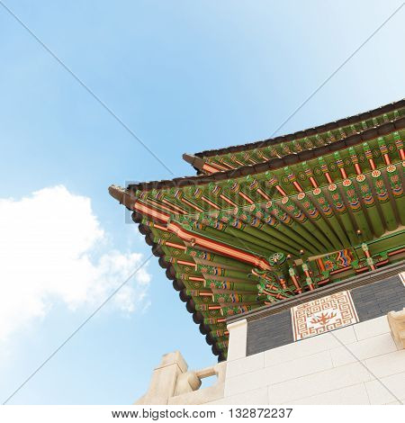 Gyeongbokgung palace gate shot at day light - Seoul Korean Republic