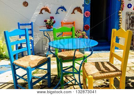 Kos island, Greece - May 16, 2016: Traditional Greek tavern in the popular tourist village of Zia in May 16, 2016, Kos island, Dodecanese, Greece.