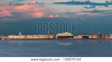 Menacing Sky Of The Sunset Over The Spit Vasilyevsky Island. Saint Petersburg