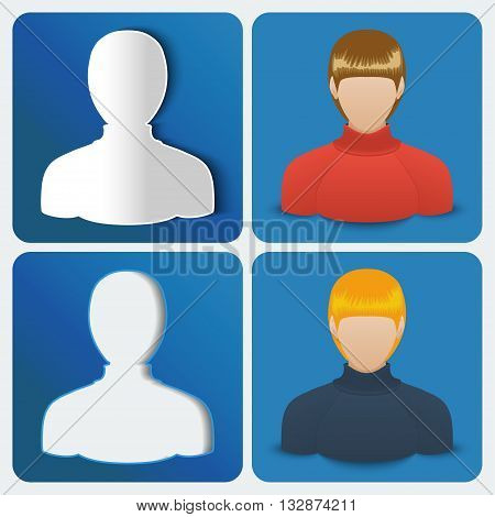 Set of four User icon of women. Vector illustration.
