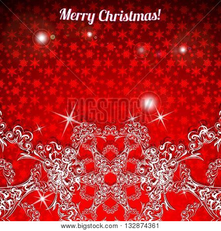 Christmas background with large snowflakes at the bottom. Vector illustration.