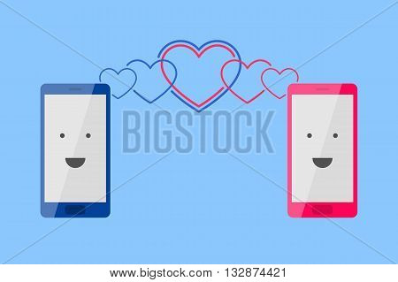 Man's blue phone and woman's pink phone with smiling faces is placed one near by another, and heart-shaped waves is spreading toward each other. Enamored persons are talking by phone