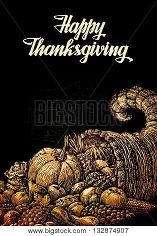 Happy Thanksgiving. Cornucopia or Horn of plenty. Fruits and Vegetables