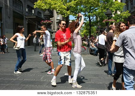 BELGRADE SERBIA-JUN 26, 2011:Young people give public lesson of dance within manifestation Belgradization of Belgrade
