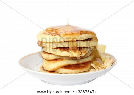 A pancake is a flat cake often thin and round prepared from a starch-based batter that may also contain eggs milk and butter and cooked on a hot surface such as a griddle or frying pan often with oil or butter. They may be served at any time with a variet