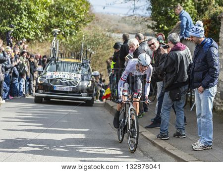 Conflans-Sainte-Honorine,France-March 6,2016: The Luxembourgish cyclist Frank Schleck of Giant-Alpecin Team riding during the prologue stage of Paris-Nice 2016.