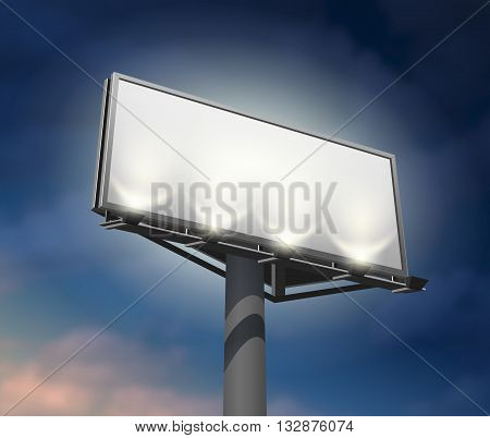 Prominently placed billboard to promote your company lighted and clearly visible at night abstract vector illustration. Editable EPS and Render in JPG format
