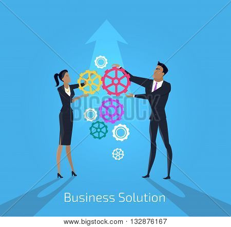 Business solution. Man and woman. Solution business team and people teamwork success. Businessman and woman idea strategy and solve problem with partnership and challenge. Vector illustration