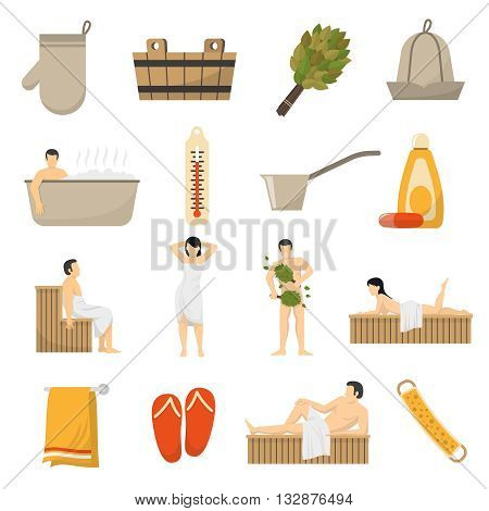 Bath sauna and spa resort accessories flat icons collection with towel thermometer bucket abstract isolated vector illustration