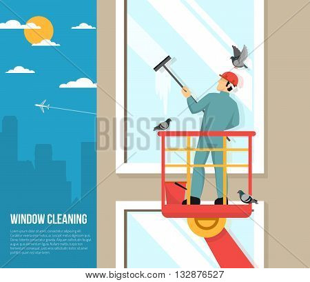 Professional washer cleaning tall office building windows with rubber squeezer flat placard poster abstract vector illustration