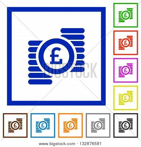 Set of color square framed Pound coins flat icons