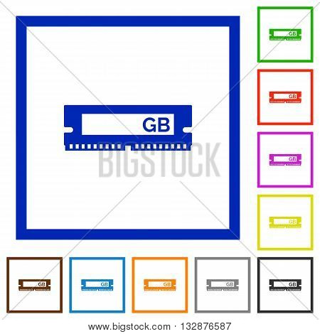 Set of color square framed RAM module flat icons
