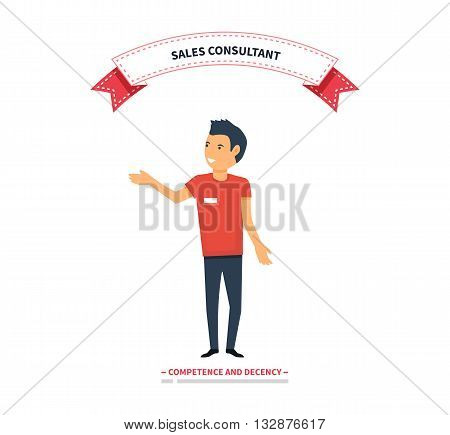 Sales consultant, sales trainer or mystery shopper company, street seller. Vector illustration