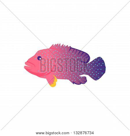 Fish icon design flat isolated. Fish sea animal or food, wildlife aquatic and nature ocean river fish, seafood life swimming with tail and fin, fauna marine style exotic, vector illustration