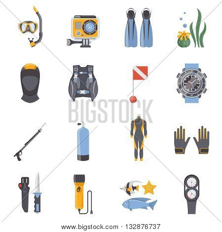 Diving and snorkeling flat decorative icons collection with aqualung wetsuit mask scuba spear gun isolated vector illustration
