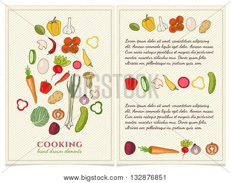 Cookbook template hand drawn elements vector template