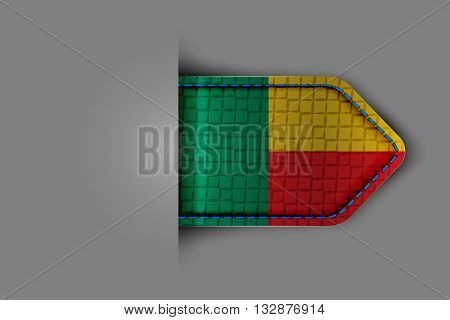 Flag of Benin in the form of a glossy textured label or bookmark. Vector illustration.