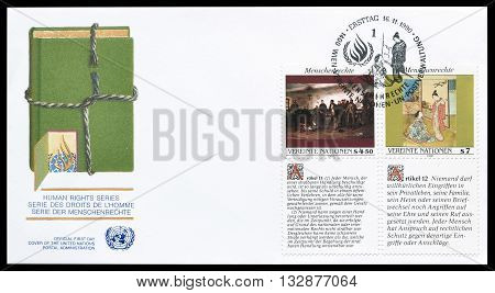UNITED NATIONS - CIRCA 1990 : First day cover letter printed by United nations, that promotes Human rights.