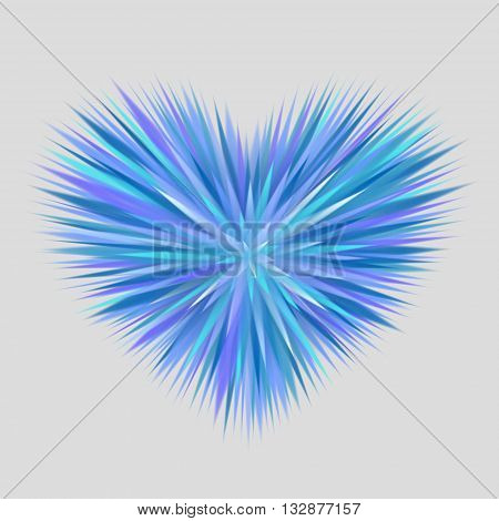 Heart composed of blue rays with sharp endings on gray background. Cold heart concept