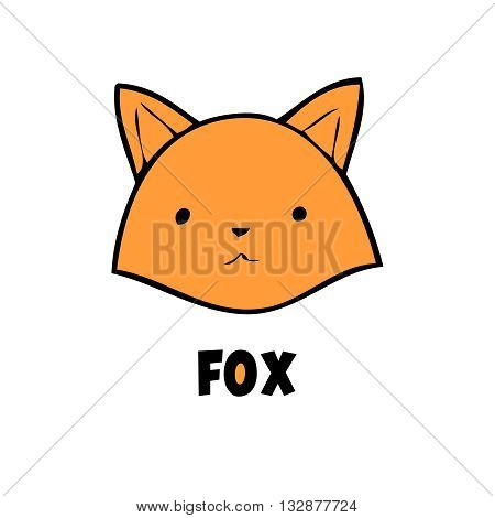 Vector red fox icon little fox logo on white background. Cute anime fox. Red head animal.