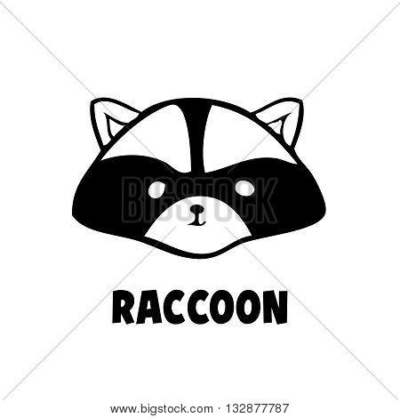 Vector head raccoon icon little raccoon logo black on white background. Cute anime racon. Coon animal.