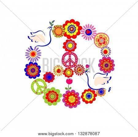 Applique with peace flower symbol with doves and colorful flowers
