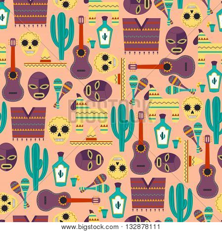 Mexico Seamless Pattern / Vector Seamless Background with Mexican Elements
