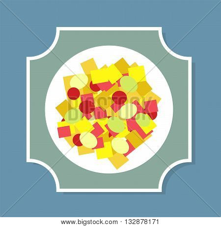 Greek salad on the plate vector illustration. Greek salad plate isolated on background. Greek salad flat modern style vector