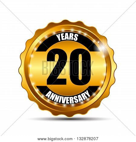 Anniversary Gold Label Sign Template Vector Illustration EPS10