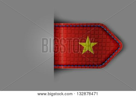 Flag of Vietnam in the form of a glossy textured label or bookmark. Vector illustration.