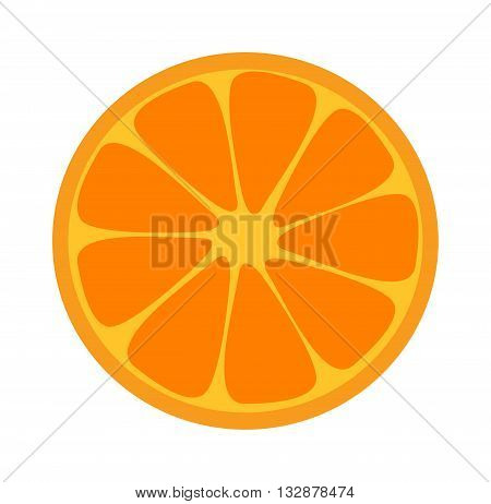 Slice of fresh orange isolated on white background and orange slice fruit. Orange slice vector citrus food and orange slice juicy organic sweet vitamin. Orange slice tasty healthy cut exotic fruit.