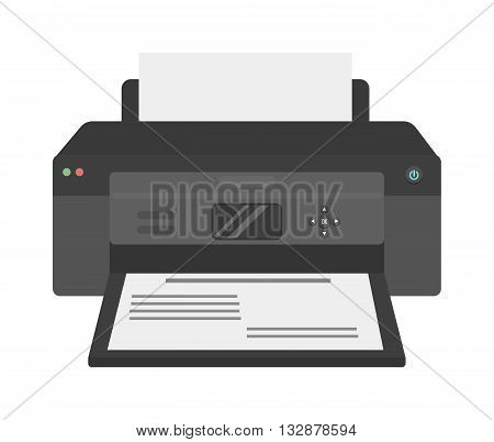 Printer flat vector icon and illustration of printer icon isolated on white. Printer machine, equipment, design and printer paper office technology business tool. Scanner photocopier printer.