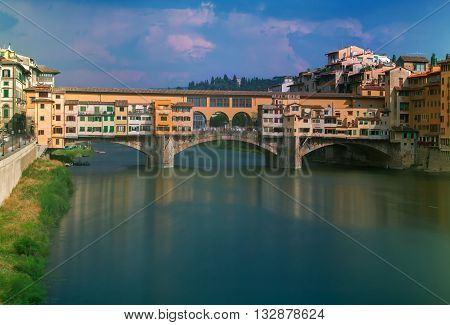 A view of the Old Bridge Ponte Vecchio over Arno river in Florence, Italy