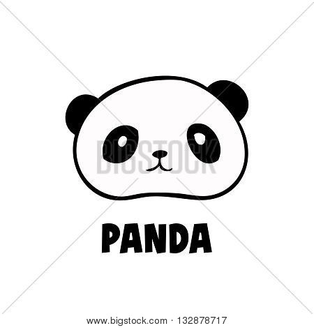 Vector head panda icon little panda logo black on white background. Cute anime panda.