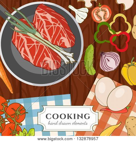 Cooking cookbook kitchen table cooking recipes fresh meat and vegetables