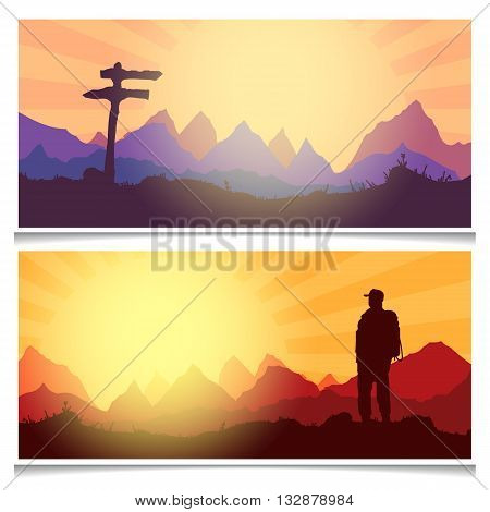 Tourism and hiking banners outdoor recreation adventures in nature