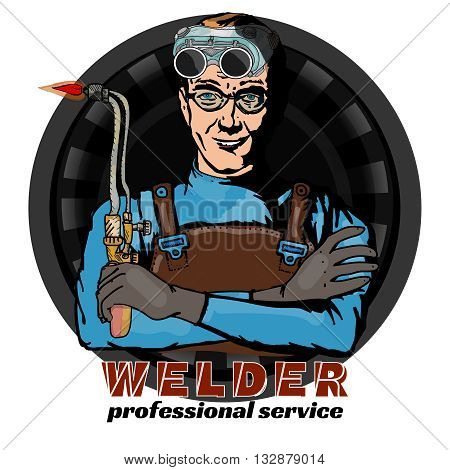 Welding professional welder and tools isolated on white pop art vector illustration